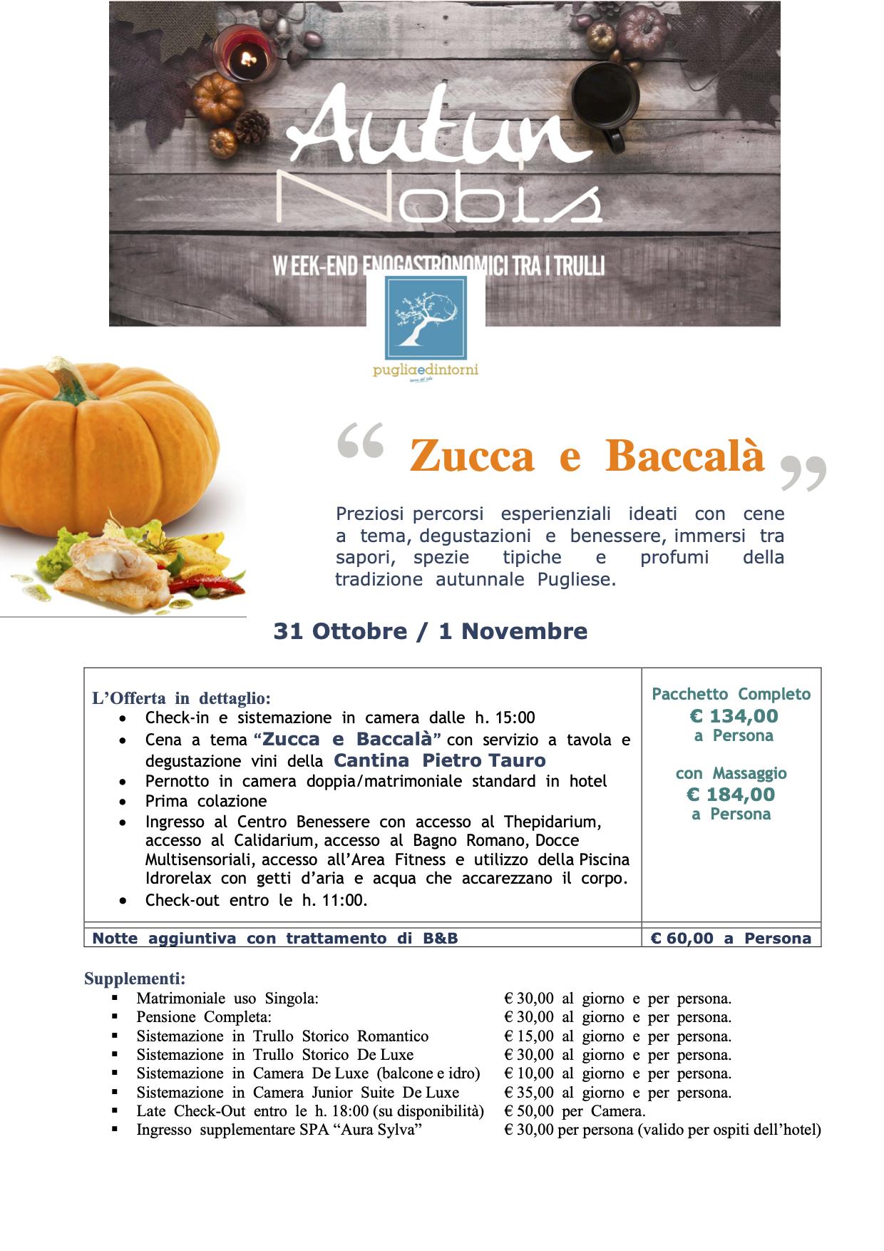 Zucca e Baccalà 31 ott 1 nov 2020